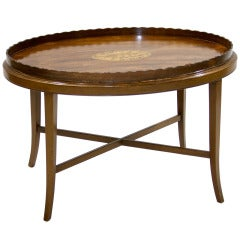 19th Century English Tray On Stand with Inlay