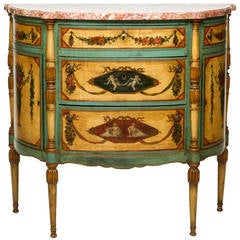 Italian Painted Demilune Commode with Marble Top