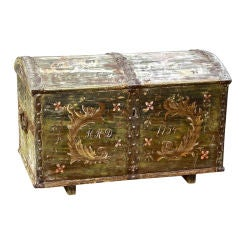 Painted Austrian Dome Top Blanket Chest