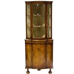 19th Century English Burl Walnut Corner Cabinet