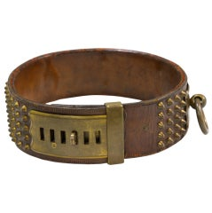 "A ""Hermes"" Leather and Brass Dog Collar"
