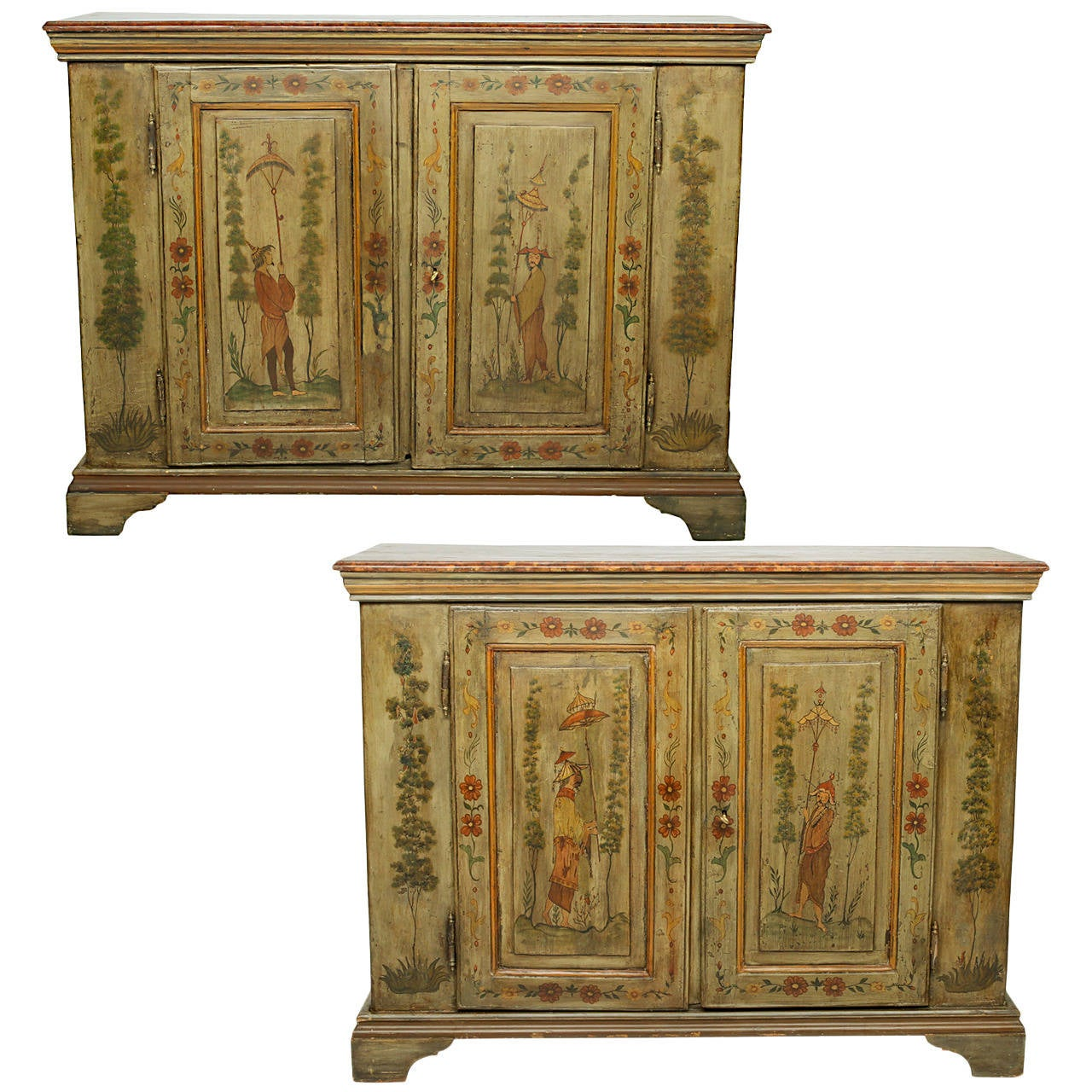 19th century pair of painted cabinets at 1stdibs for 19th century kitchen cabinets