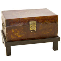 Leather Asian Style Trunk On Stand