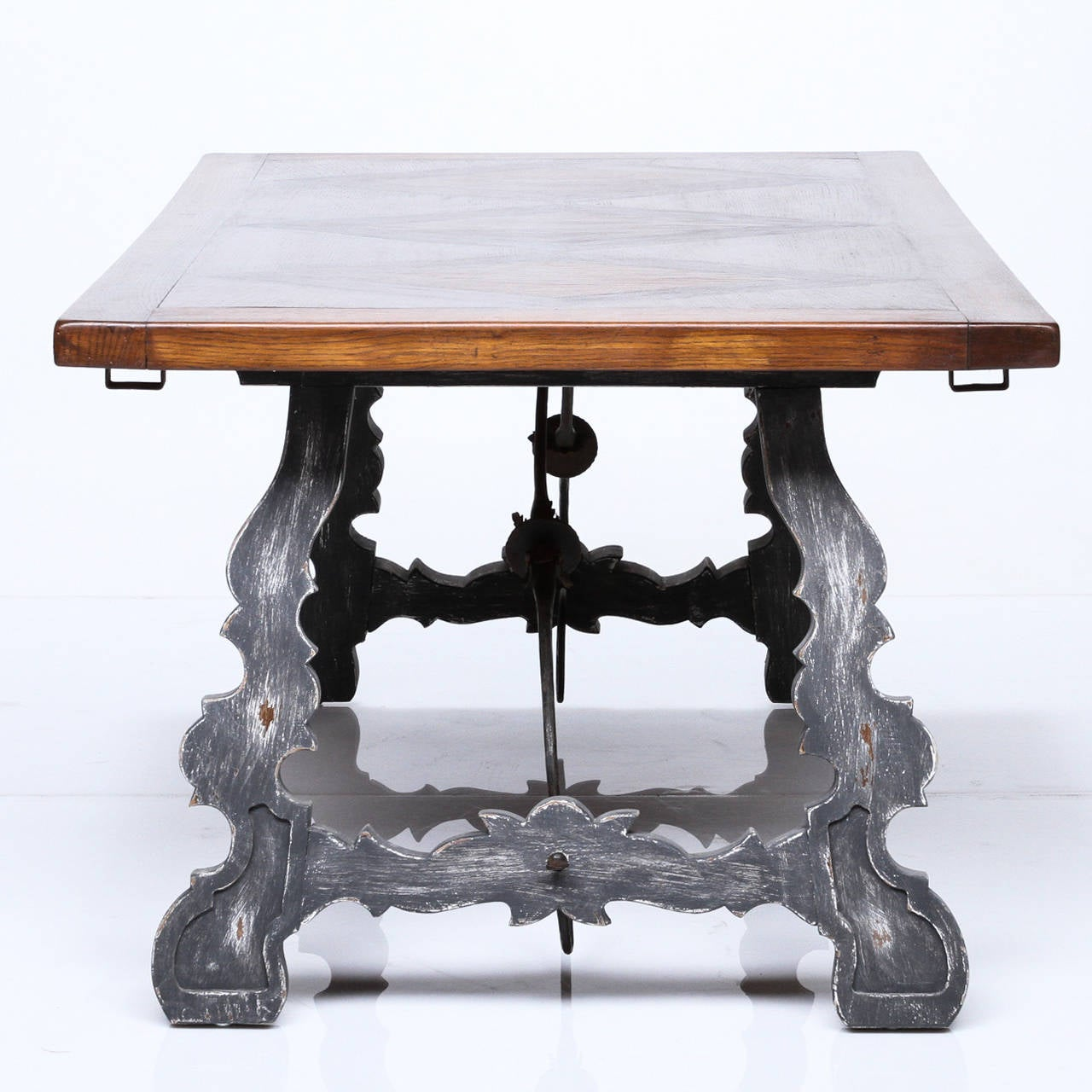 Spanish Style Painted Base and Parquetry Top Dining Table