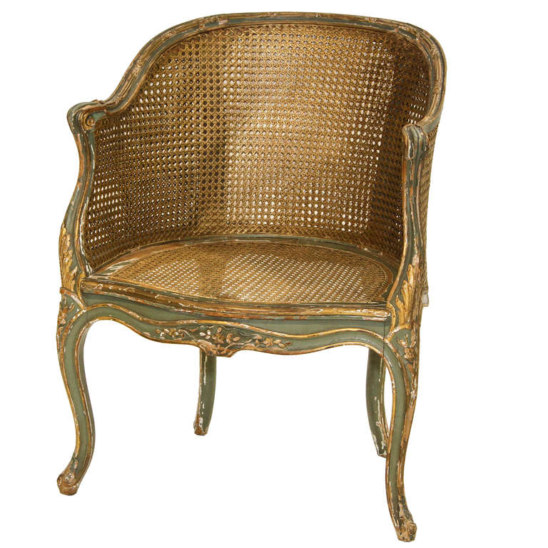 Louis Xv Painted Double Cane Back Corner Chair At 1stdibs