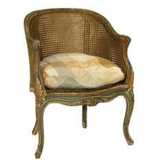 Louis XV Painted Double Cane Back Corner Chair