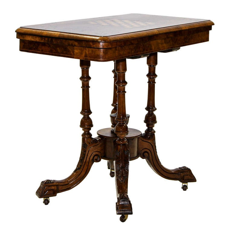 English Victorian Flip Top Game Table Console 3