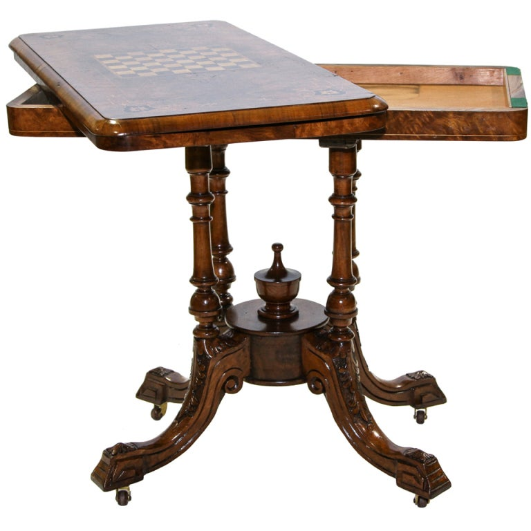 Marvelous English Victorian Flip Top Game Table Console 1