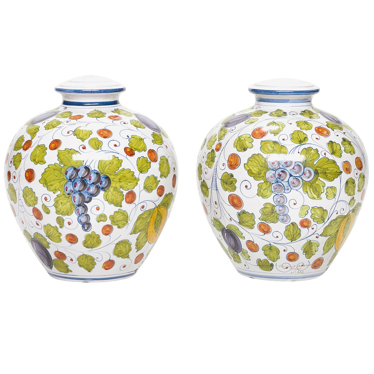 Pair of Signed Faience Lamp Bases