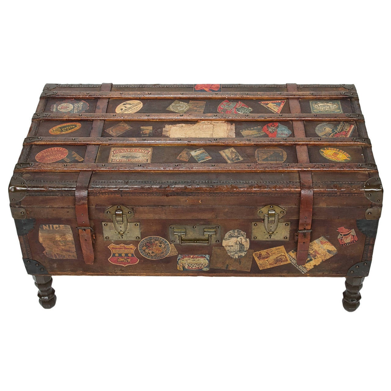 Vintage travel trunk coffee table by arthur eymann from marseille france at 1stdibs Old trunks as coffee tables