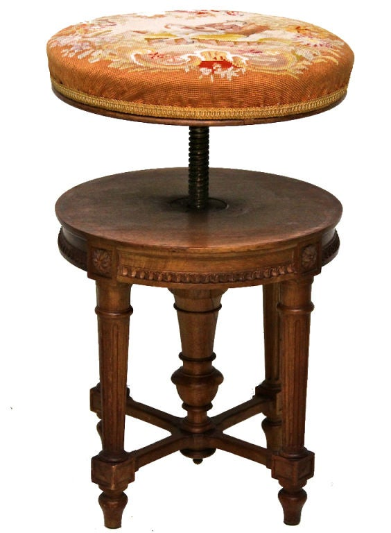 A Elegant Louis Xvi Piano Stool With Tapestry Covering At
