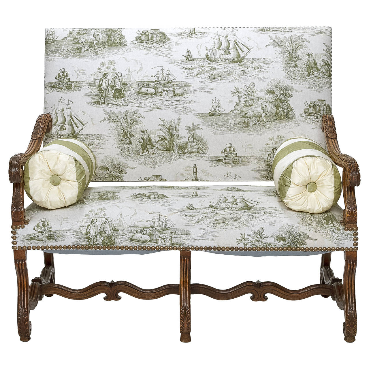 louis xiv walnut settee in a toile fabric 1
