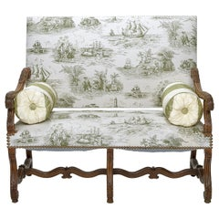Louis XIV Walnut Settee in a Toile Fabric