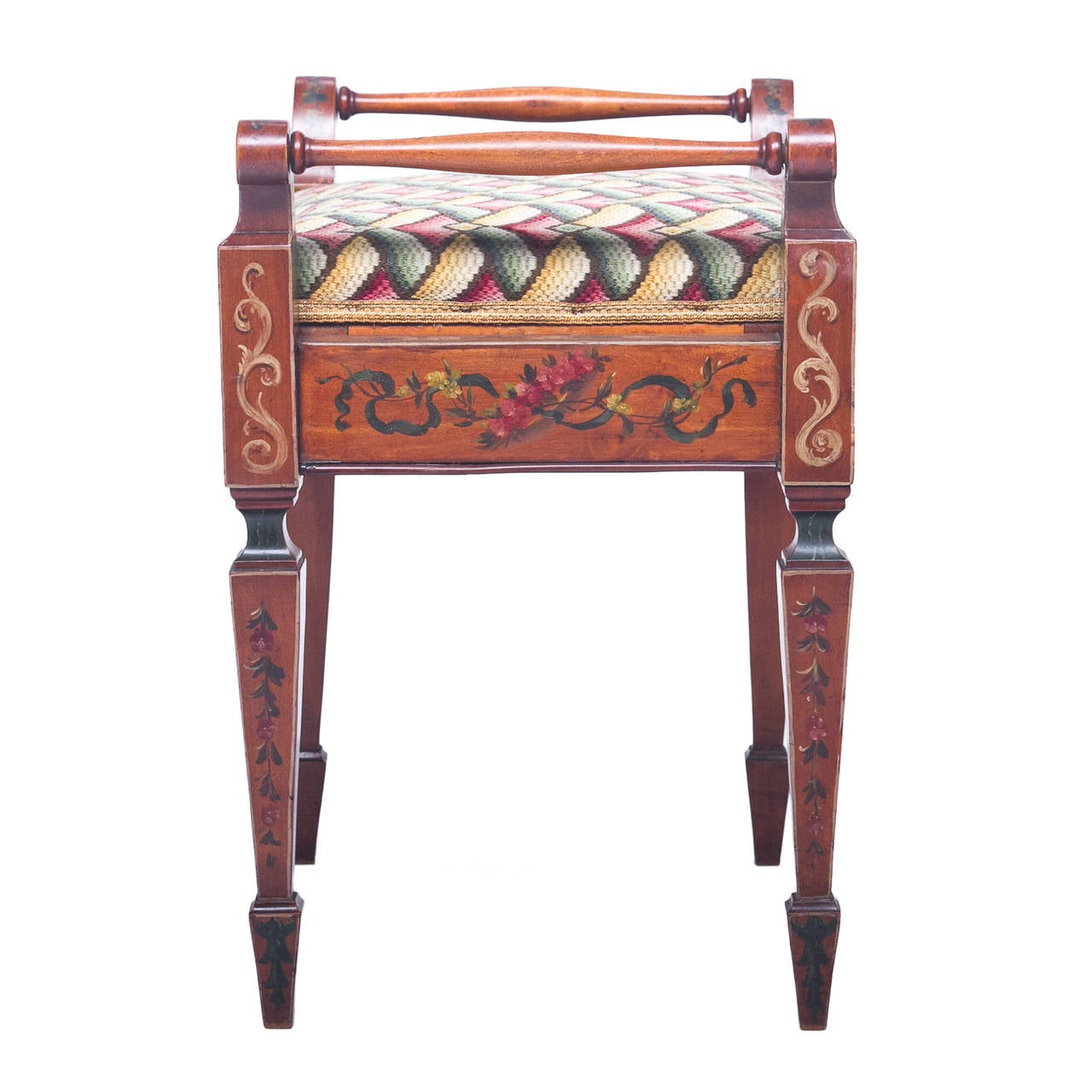 Needlepoint Navy English Painted Satinwood Bench With Lift Seat For Sale At