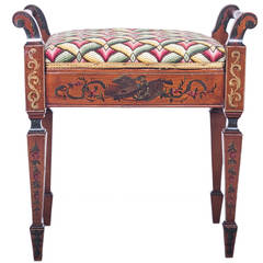 English Painted Satinwood Bench with Lift Seat