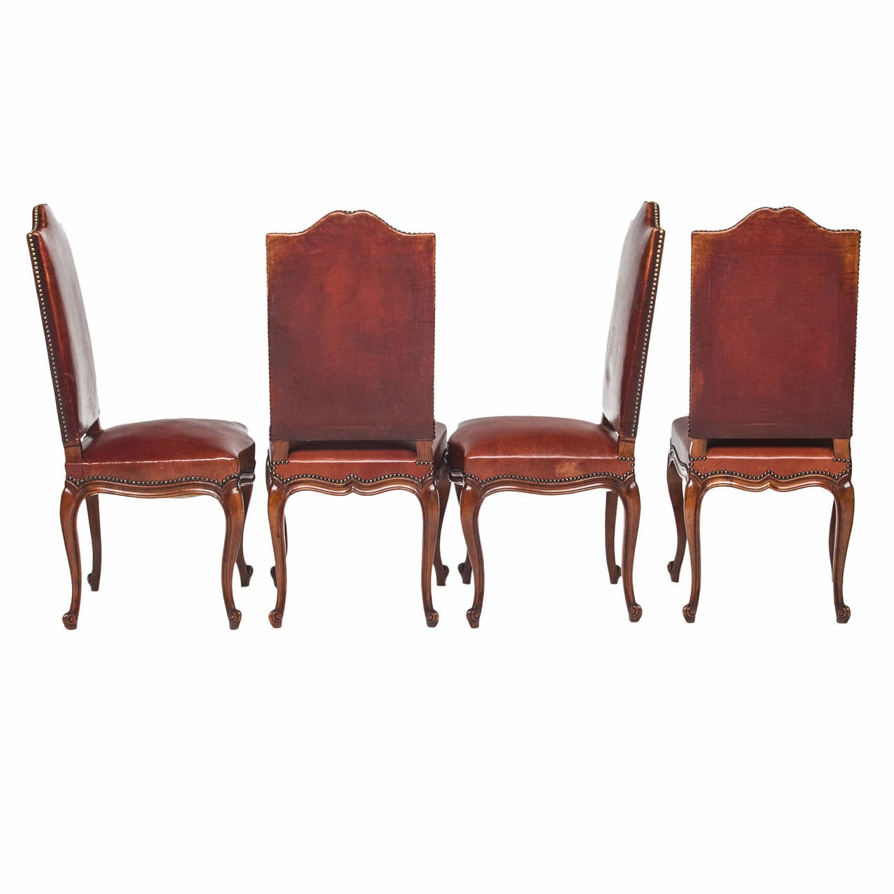 Louis XV Walnut and Leather Dining Chairs Set of Eight at