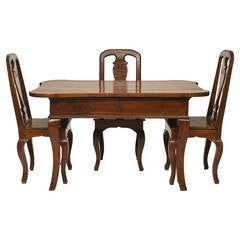 18th Century Italian Walnut Desk and Three Chairs