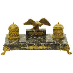 19th Century French Bronze and Marble Double Inkwell with Bronze Eagle Surmount