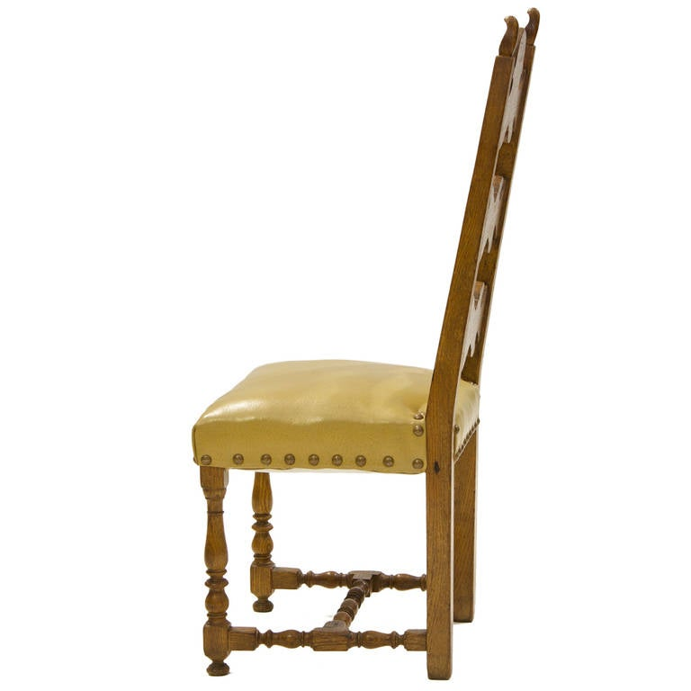 Set Of 8 Spanish Dining Chairs. 2 Arms, 6 Sides. Matching The Table