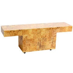 Mid-Century Modern Faux Burl Wood, Patch Work Console or Sofa Table