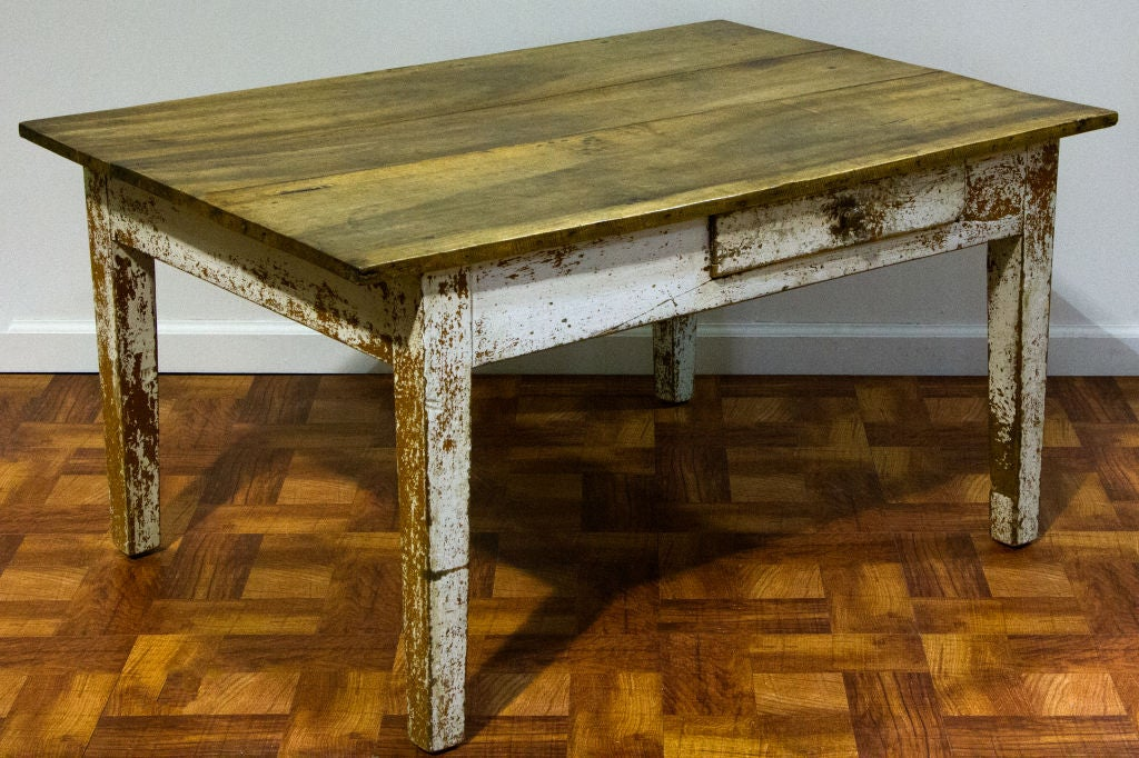 a farmhouse style coffee table with painted base at 1stdibs
