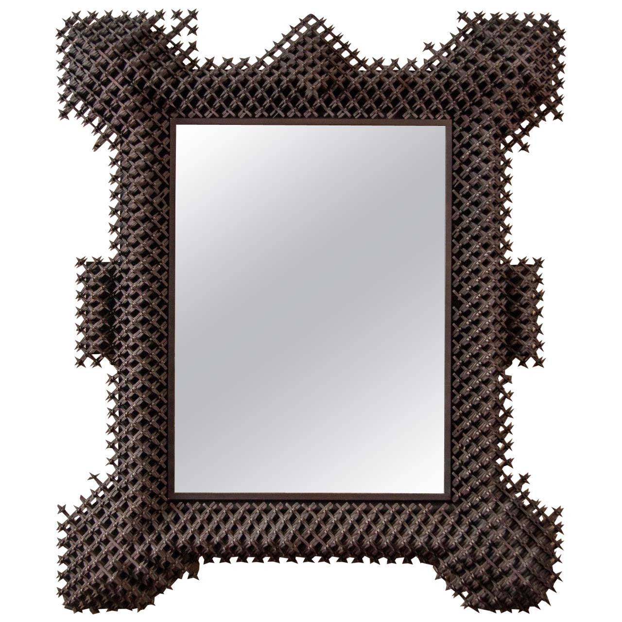 Wall Art With Mirror Frame : Tramp art framed mirror at stdibs
