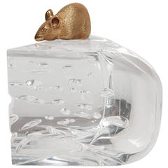 Steuben Glass Mouse and Cheese Objet D'art