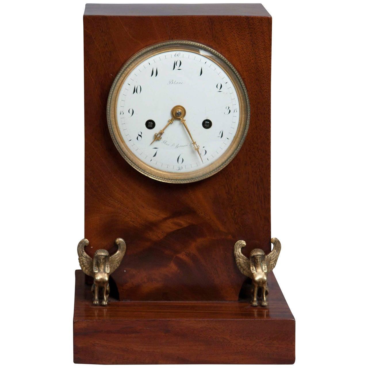 French Empire Mahogany Mantel Clock
