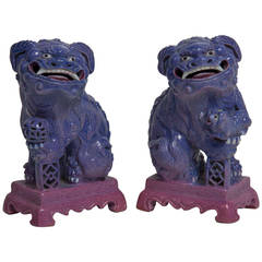 Pair of Chinese Porcelain Seated Foo Dogs