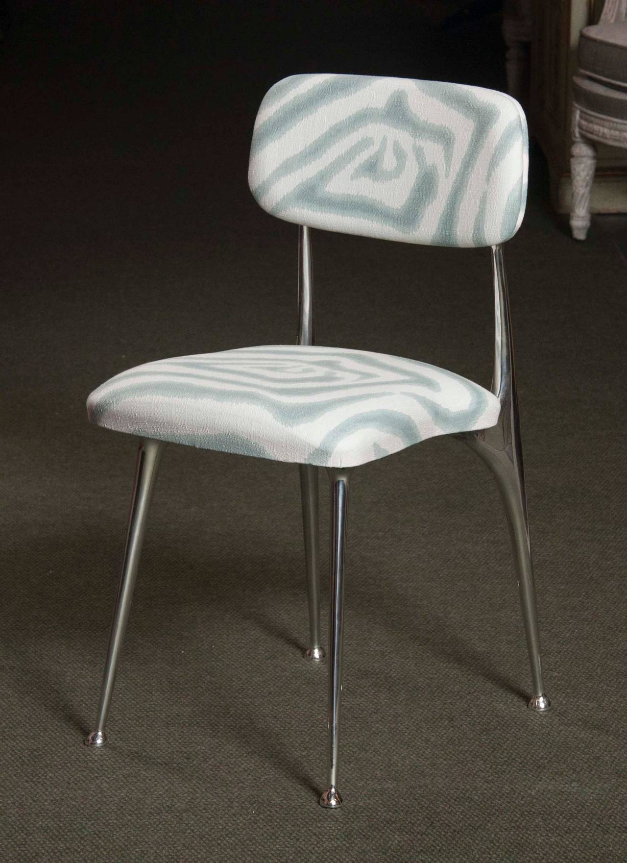 American Set of 6 Polished Aluminum Dining Chairs by Shelby Williams For Sale