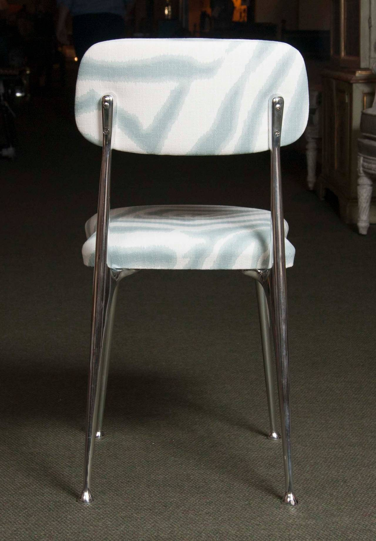 Set of 6 Polished Aluminum Dining Chairs by Shelby Williams For Sale 1