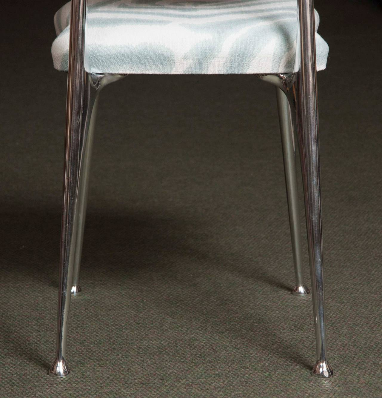 Set of 6 Polished Aluminum Dining Chairs by Shelby Williams For Sale 3