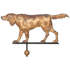 Massachusetts Full-Bodied Setter Weather Vane with All Original Elements
