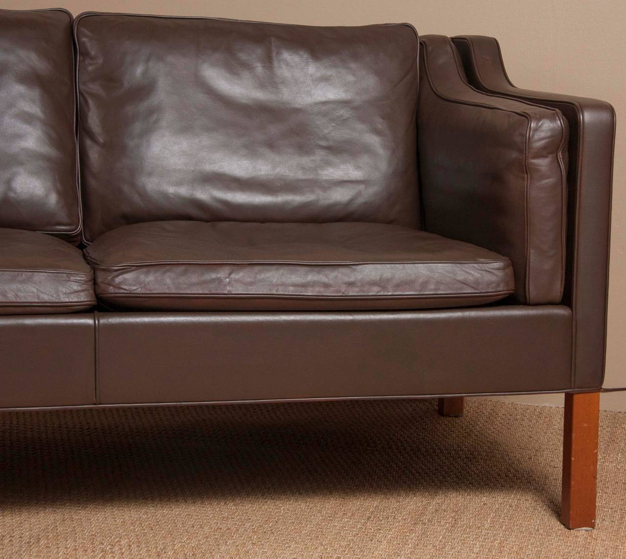 Mid-Century Modern Leather Sofa by Børge Mogensen For Sale