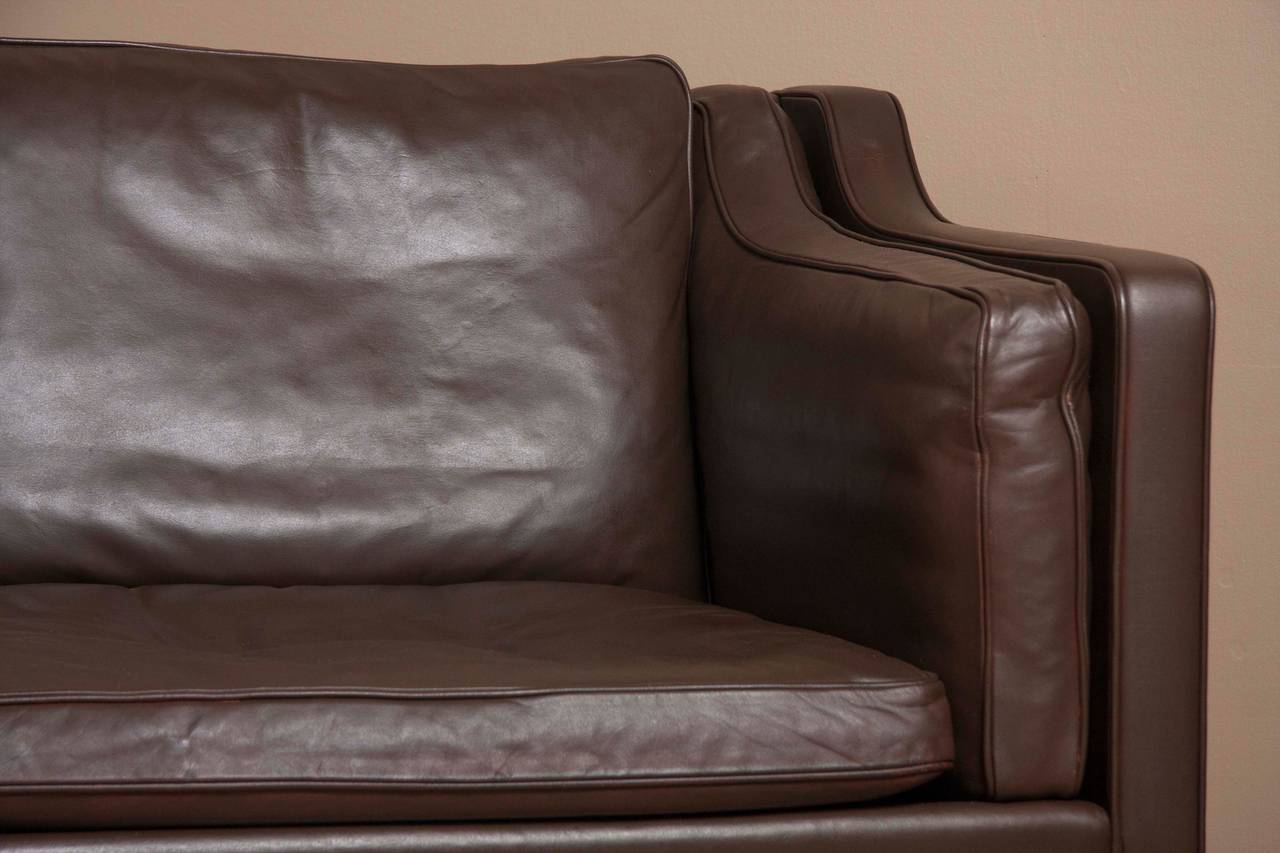 Danish Leather Sofa by Børge Mogensen For Sale