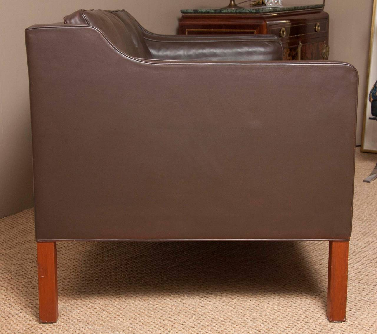 Leather Sofa by Børge Mogensen In Excellent Condition For Sale In Stamford, CT