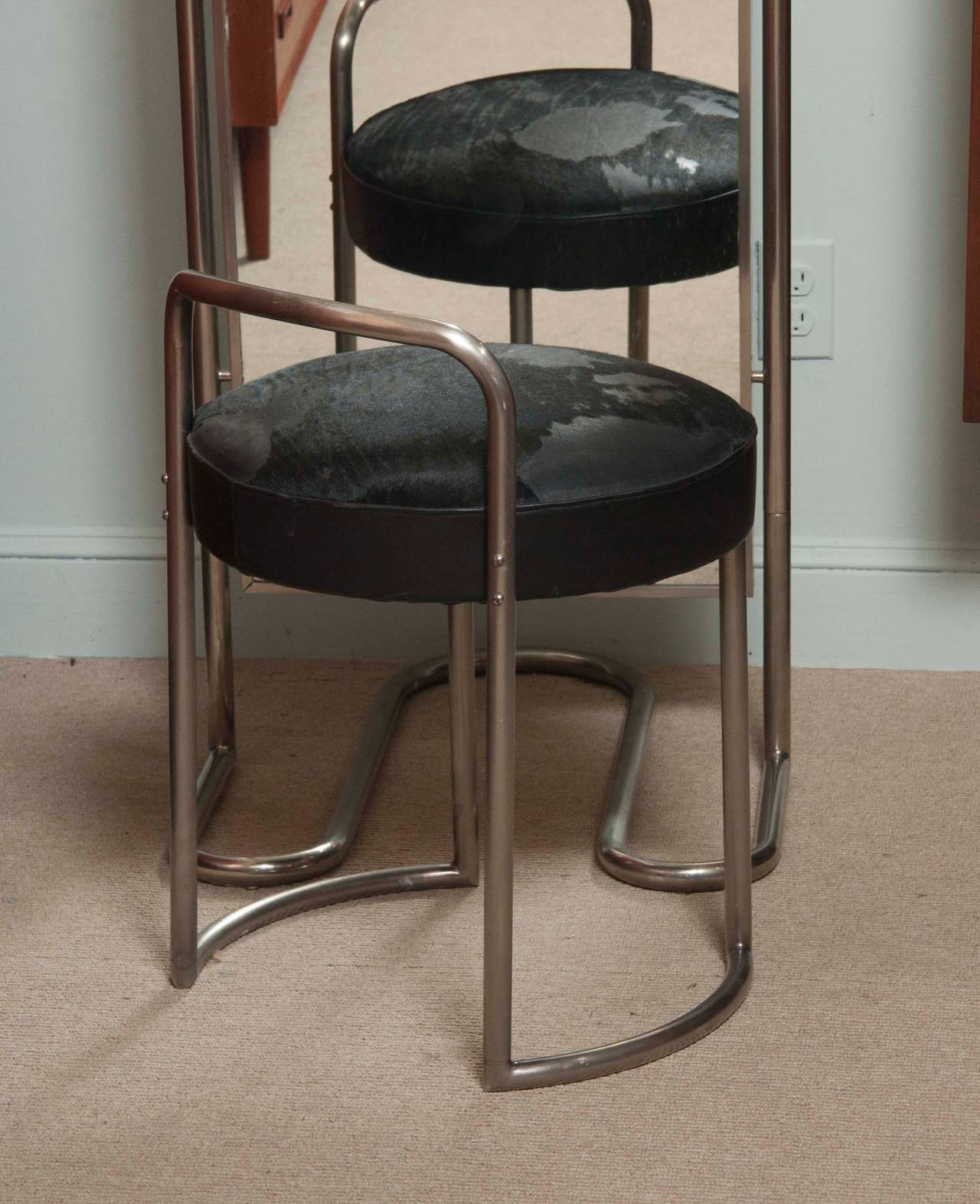 Art Deco Dressing Room Mirror And Stool By Louis Sognot At