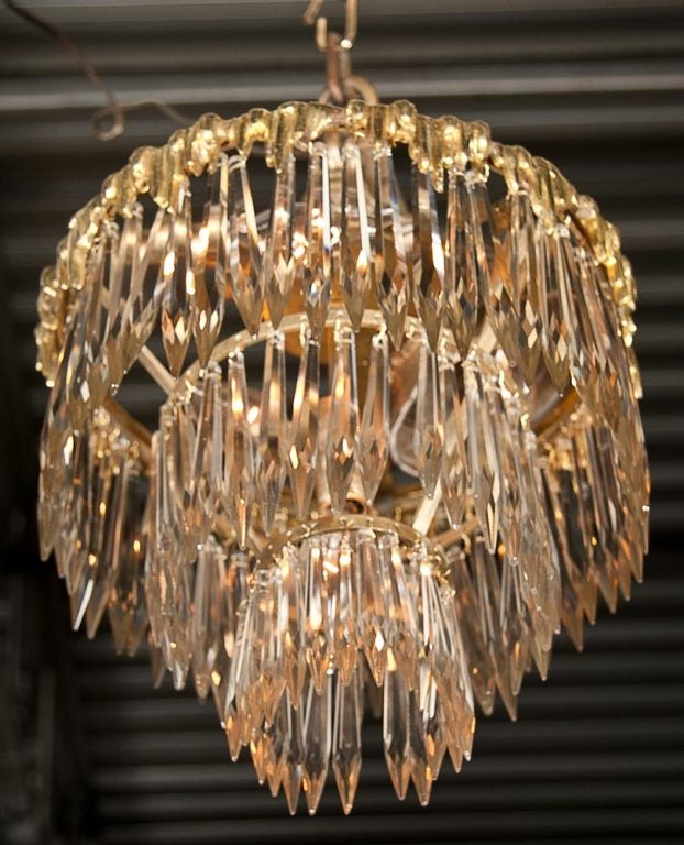 Set Of Two French Triple Tier Chandeliers In Good Condition For Sale In Stamford, CT