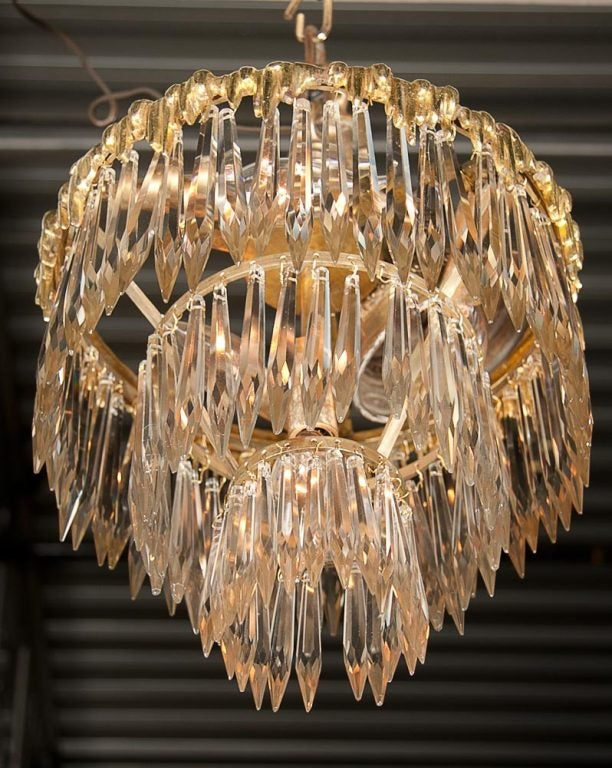 Bronze Set Of Two French Triple Tier Chandeliers For Sale