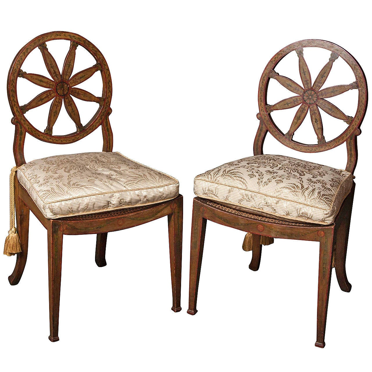 American Gothic Revival Furniture Characteristics: Pair Of Wheel-Back Painted Side Chairs At 1stdibs