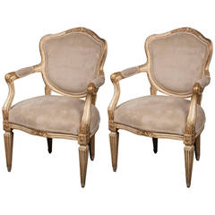 Pair of Gilt Neoclassical Italian Armchairs