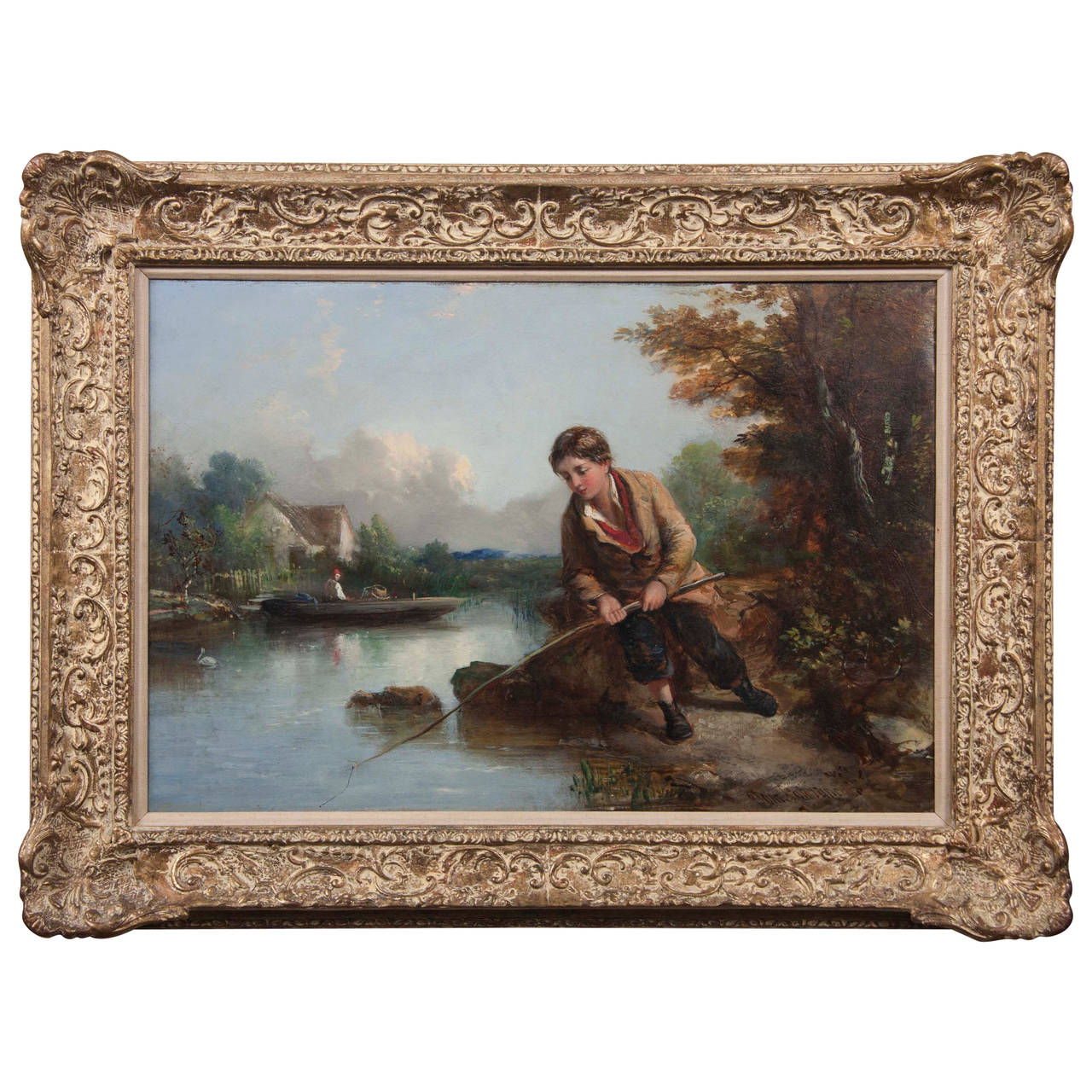"""Young Man Fishing by a River,"" Painting by Tom Lawrance"