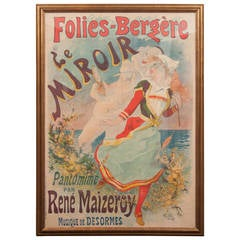"French Belle Epoque ""Folies Bergere"" Poster by French Artist Jules Chéret"
