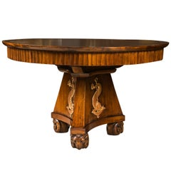 Italian Walnut Circular Library Table