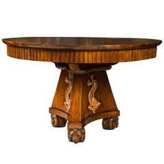 Italian Walnut Circular Library Table