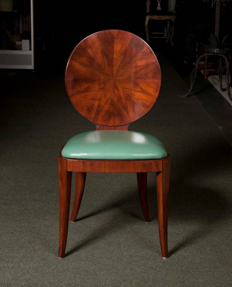 Set of Eight Round Back Bookmatched Walnut Dining Chairs