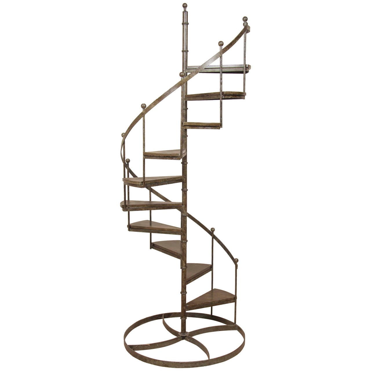 Circular wrought iron display staircase at 1stdibs - Spiral staircase wrought iron ...