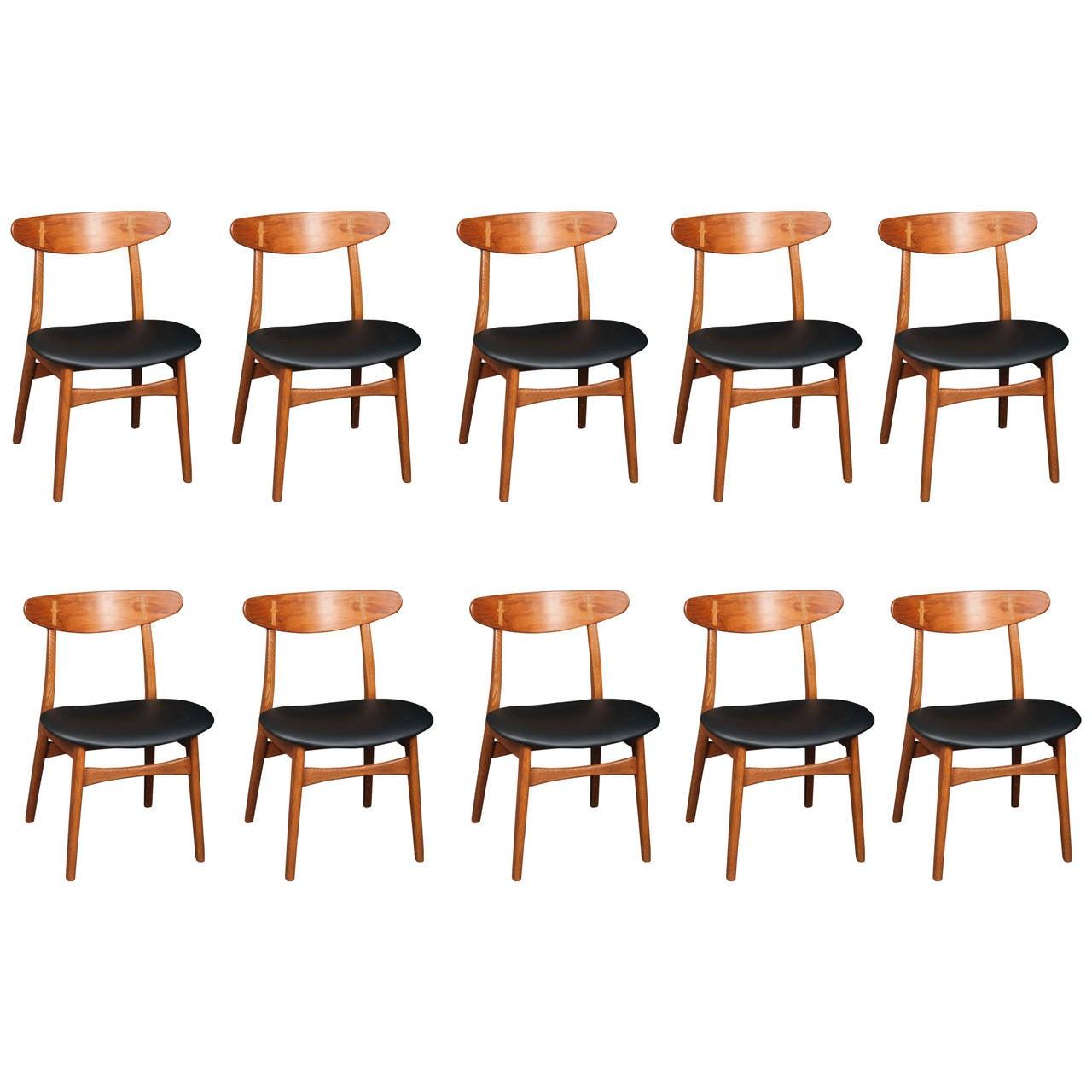 Set of Ten Hans Wegner Model CH 30 Chairs