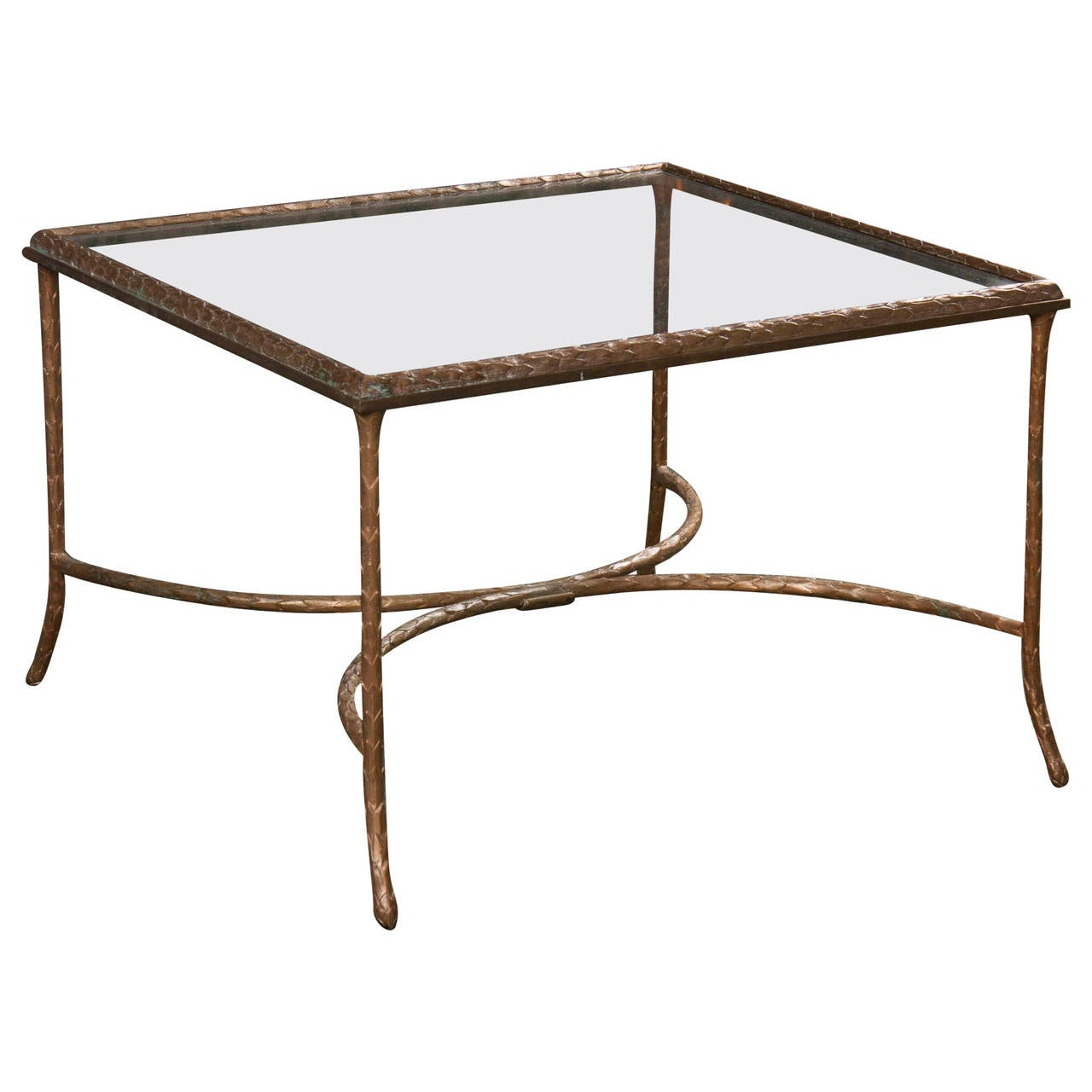 Bronze and glass coffee table at 1stdibs Bronze coffee tables