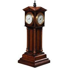 Walnut 4 Dial Tower Table Clock by Patent, Blumberg & Co, Ltd., Paris & London